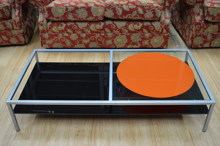 Miniforms Glass And Stainless Steel Coffee Table