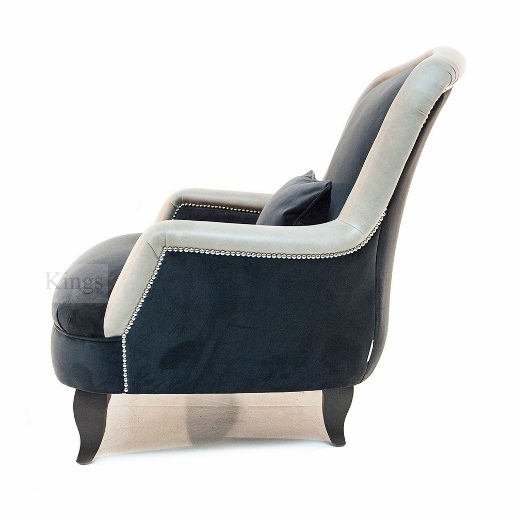 John Sankey Alphonse Chair in Block Velvet Seal Fabric with Leather Arm and Back Border and Chrome Studs