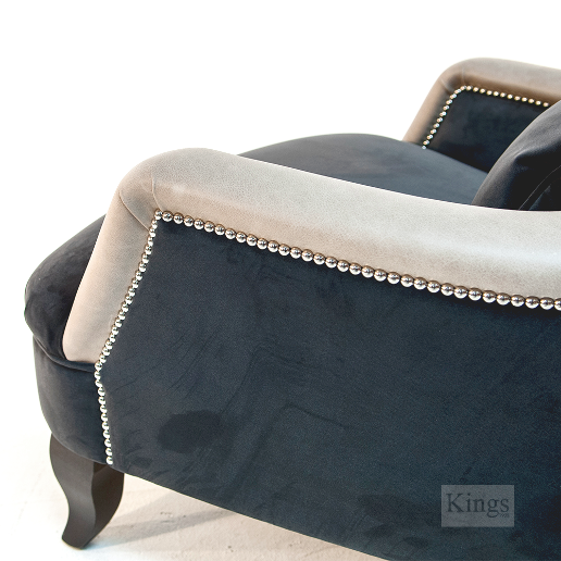 John Sankey Alphonse Chair in Block Velvet Seal Fabric with Leather Arm and Back Border and Chrome Studs Details