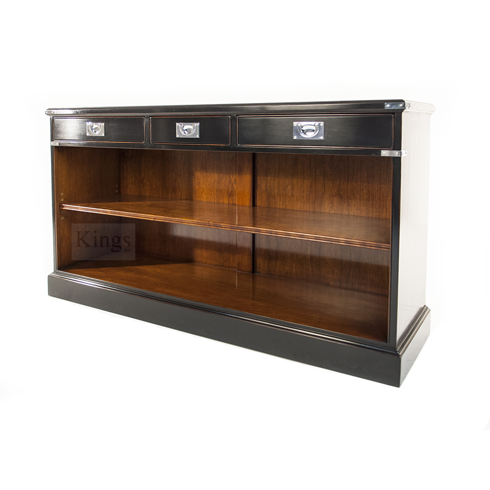 REH Kennedy Military Campaign Low Bookcase With Three Drawers