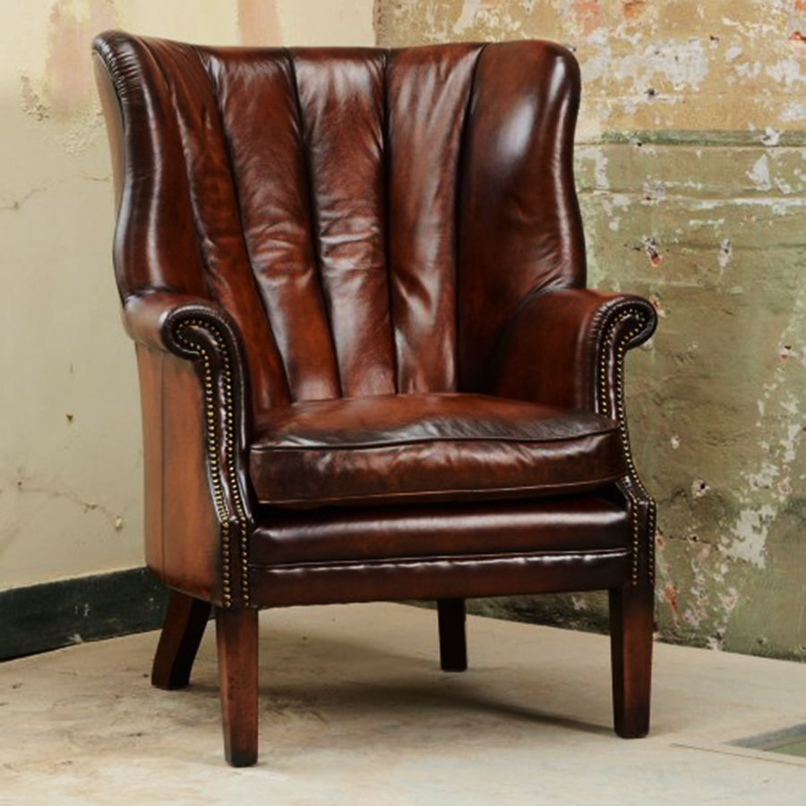 Contrast Upholstery Beardsley High Back Wing Chair