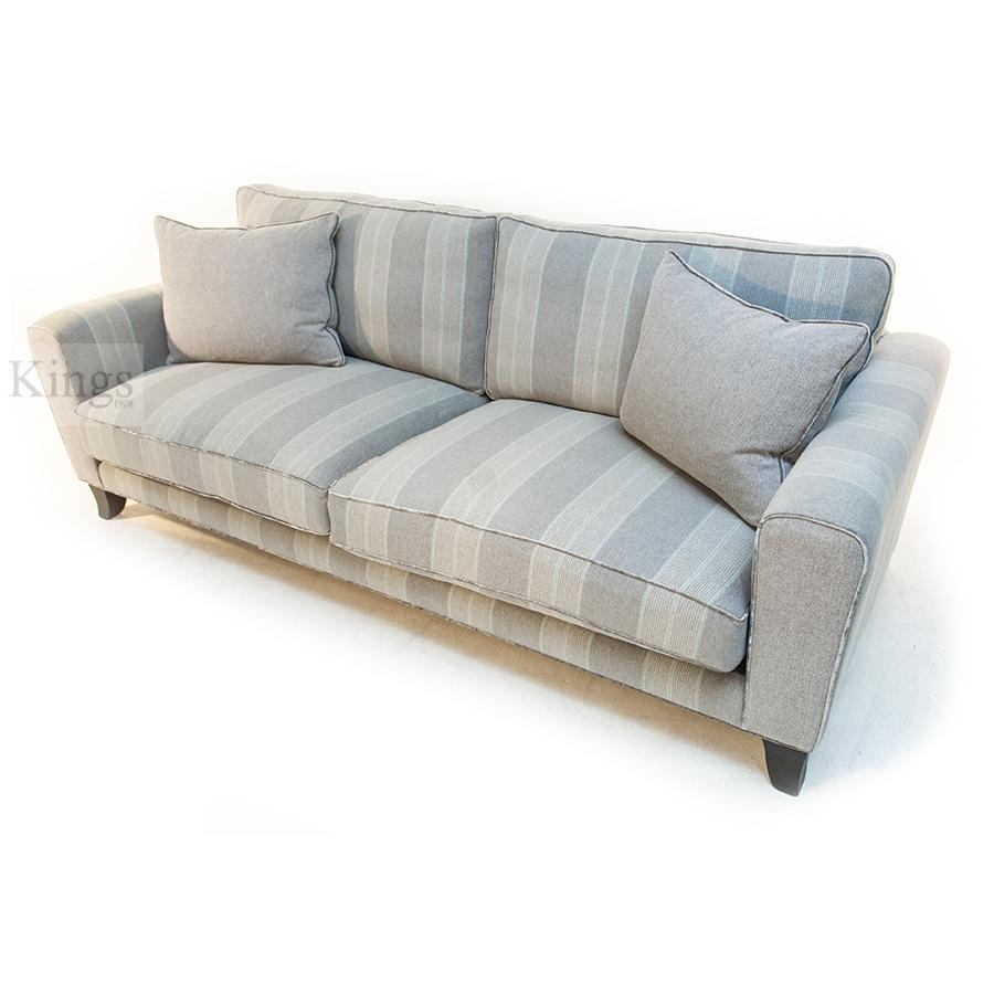 John Sankey Voltaire King Sofa in Cooper Silver Stripe 3