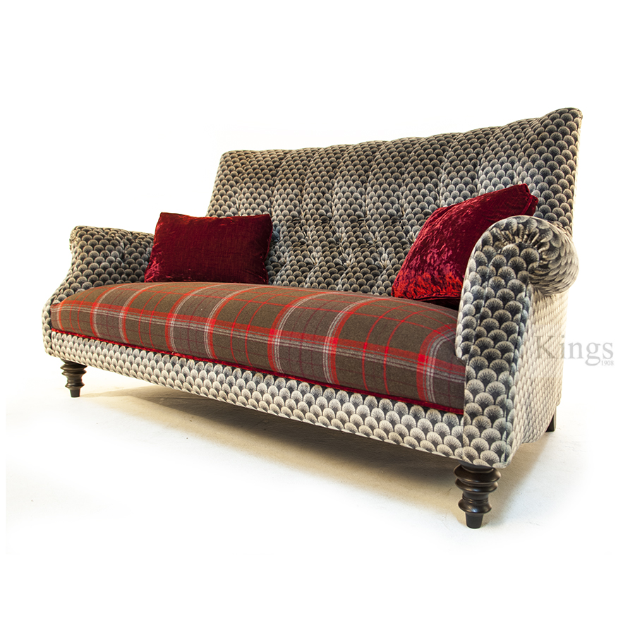 John Sankey Holkham Sofa Red Velvet Wool Plaid And Silver