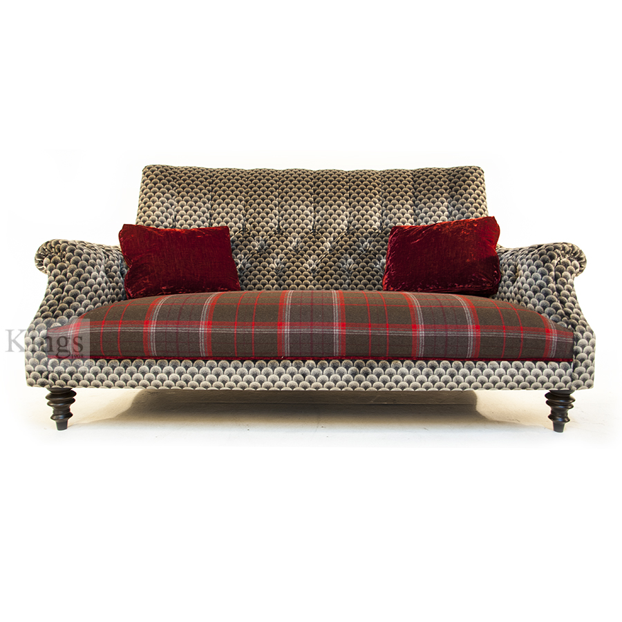 john sankey holkham sofa red velvet wool plaid and silver 6. Black Bedroom Furniture Sets. Home Design Ideas