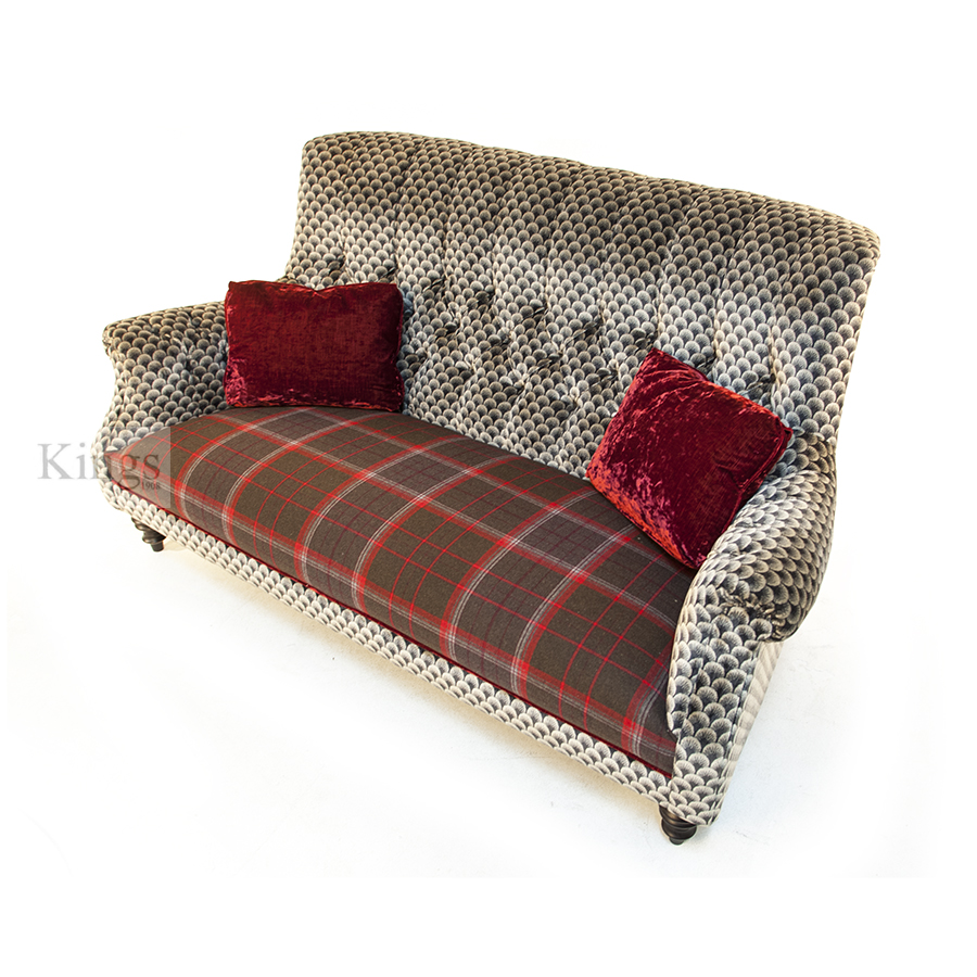 john sankey holkham sofa red velvet wool plaid and silver 5. Black Bedroom Furniture Sets. Home Design Ideas