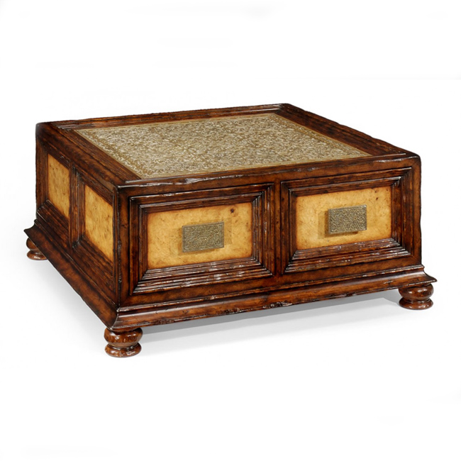 Jonathan Charles Walnut And Brass Square Coffee Table With Drawers 492629