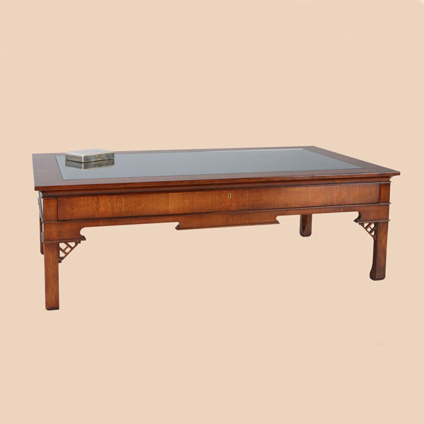 Reh Kennedy Traditional Glass Top Display Coffee Table