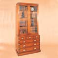 REH Kennedy Military Glass Bookcase with Drawers