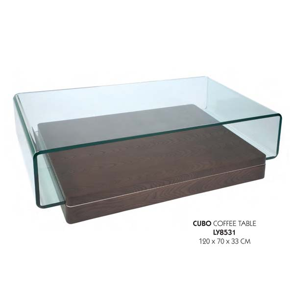 Lychee Cubo Glass Coffee Table