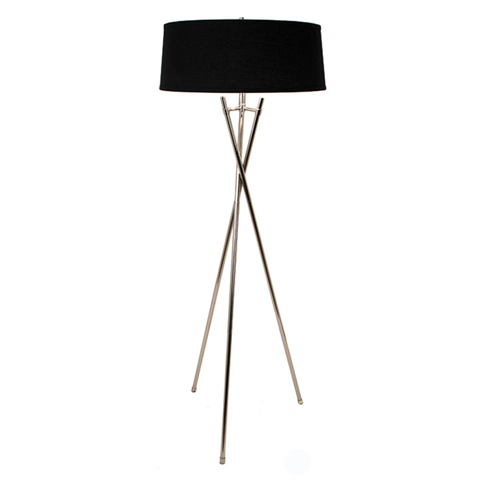 lamps rv astley arlo tripod floor lamp chrome black 5464. Black Bedroom Furniture Sets. Home Design Ideas
