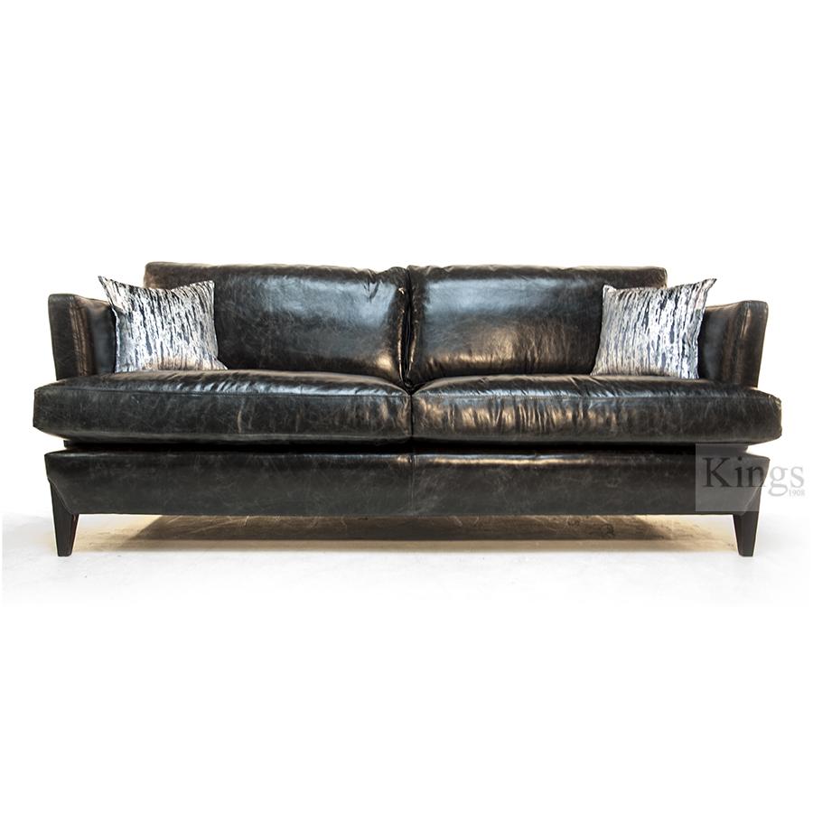 Wade Upholstery Declan Large Sofa In Galveston Black Hide