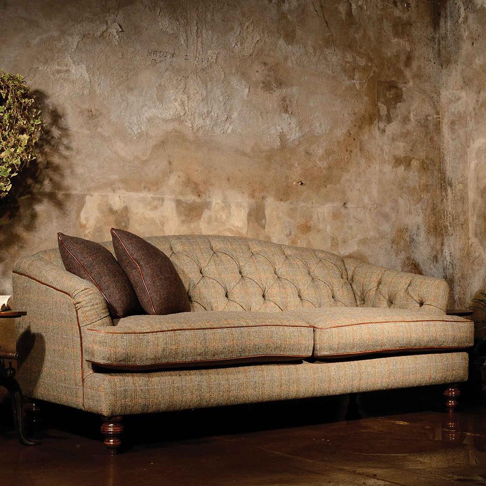 Tetrad harris tweed dalmore midi sofa sleek and elegant for Leather and tweed sofa