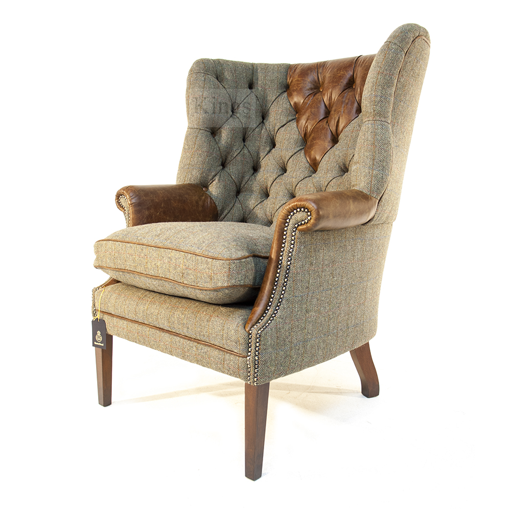 Tetrad upholstery harris tweed mackenzie chair for Leather and tweed sofa