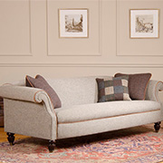 Tetrad Harris Tweed Bowmore Grand Sofa, an Edwardian style chesterfield sofa with elegant curves and simple lines