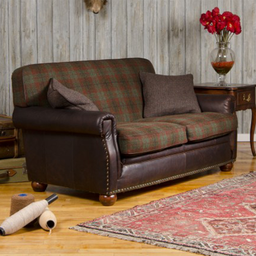 Tetrad harris tweed montrose petit sofa for Leather and tweed sofa