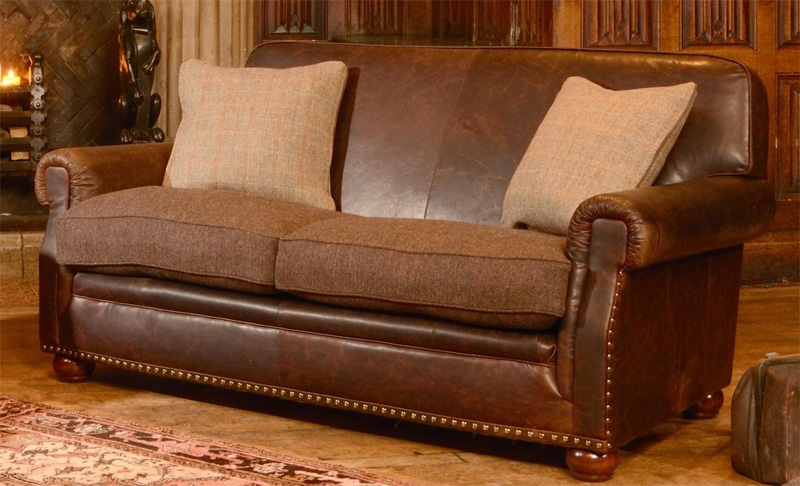 Tetrad upholstery harris tweed stornoway petit sofa for Leather and tweed sofa