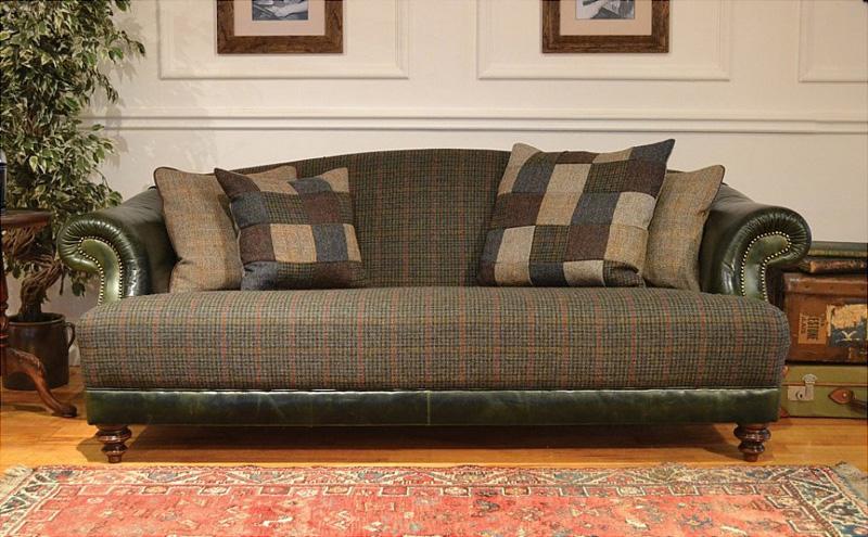 Tetrad upholstery harris tweed taransay midi sofa for Leather and tweed sofa