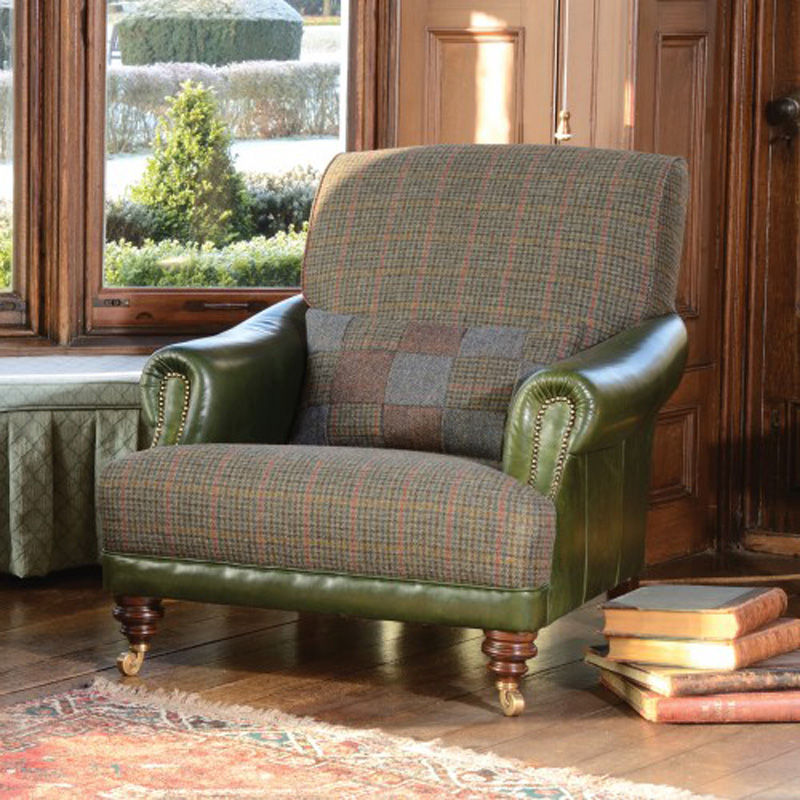 Tetrad upholstery harris tweed taransay gents chair for Leather and tweed sofa