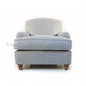 Wade Upholstery Fenchurch Scroll Arm Chair In Grey Wool Plaid 2