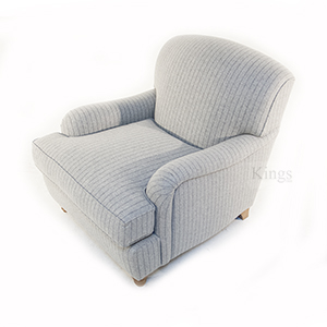 Wade Upholstery Fenchurch Scroll Arm Chair In Grey Wool Plaid3
