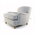 Wade Upholstery Fenchurch Scroll Arm Chair In Grey Wool Plaid
