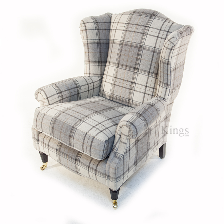 Wade Upholstery Jasper Wing Chair In Grey Wool Check Sold