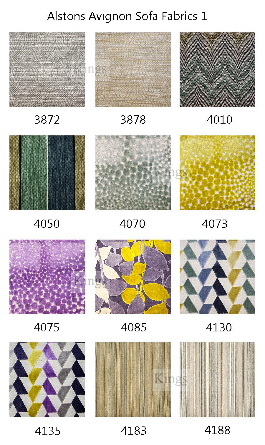 Alstons upholstery avignon grand sofa for Furniture upholstery fabric