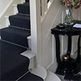 Black Stair Runner With Silver Rods