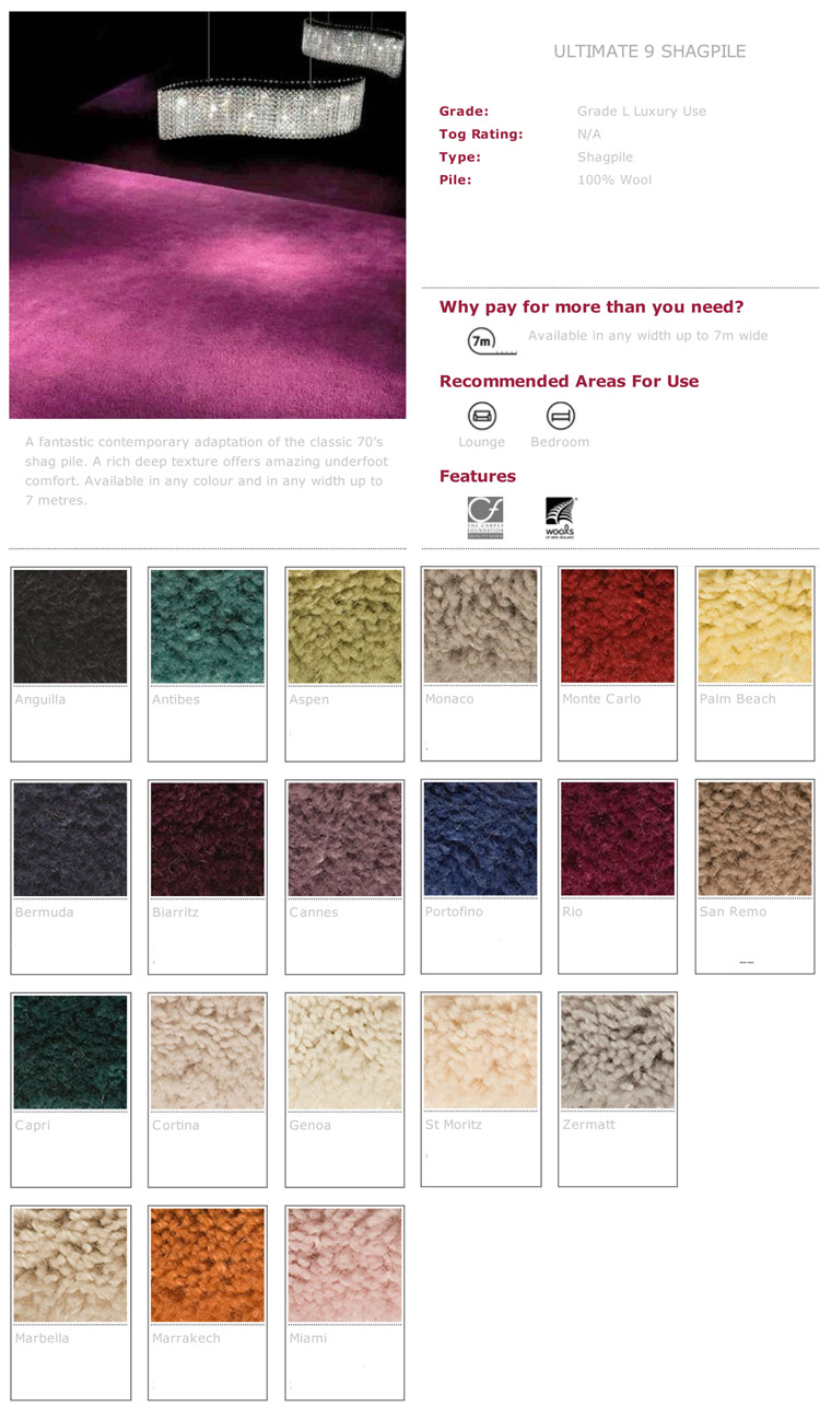 Ryalux Carpets Ultimate 9 Shagpile