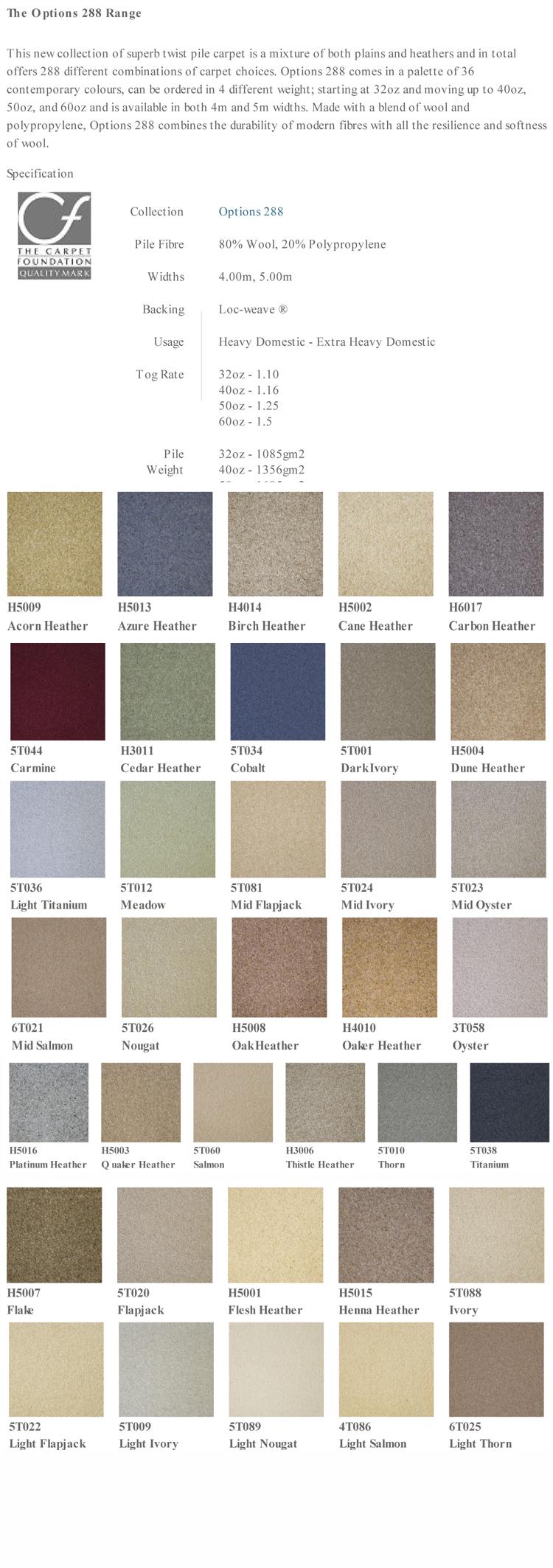 Victoria Carpets Options 288