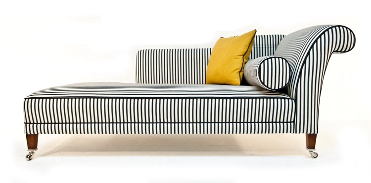 Duresta juliette chaise black and white stripe for Black and white striped chaise lounge cushions