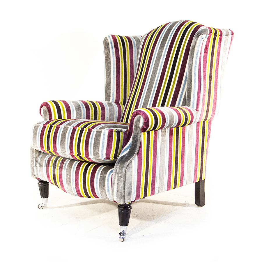Wade Upholstery Jasper Wing Chair In Multi Stripe