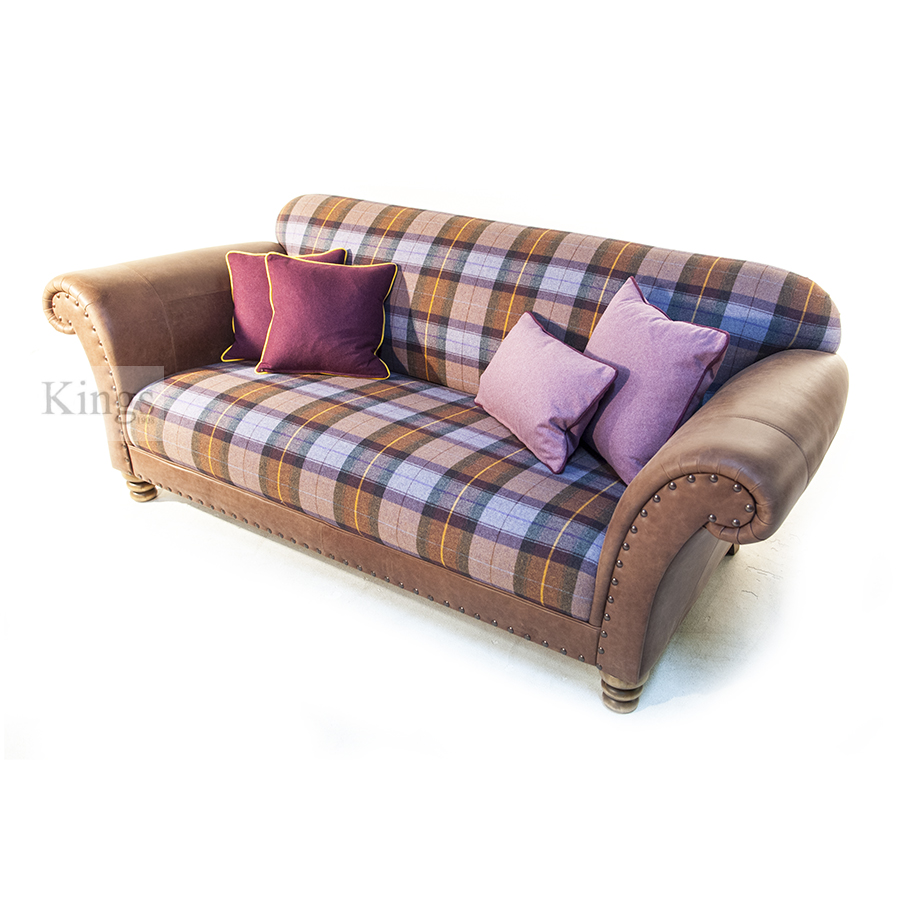 Wade Upholstery Oscar Leather And Fabric Sofa SOLD