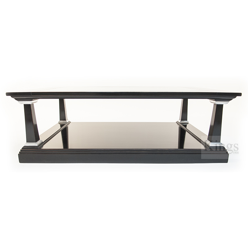 Reh Kennedy Classic Coffee Table Black And Silver With Glass Top 5001 Gt