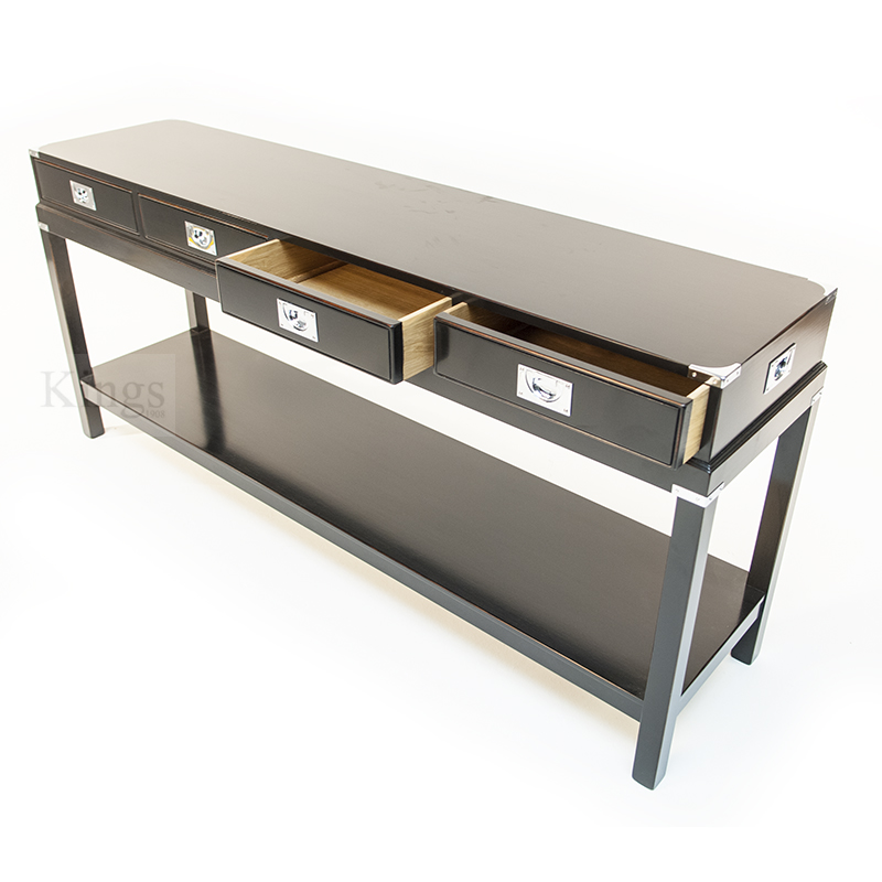 REH Kennedy Military Console Table Black And Chrome