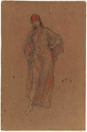 James Abbott Mcneill Whistler - A Study in Red (Framed)