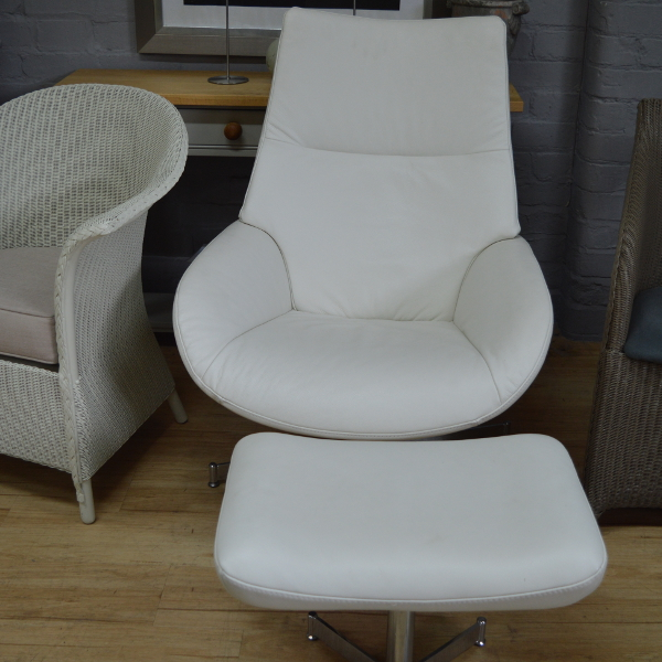 Scandinavian Style White Leather Recliner Chair With Foot Stool 4