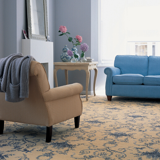Brintons Classic Florals Collection Toile Empire Blue Broadloom Living Room