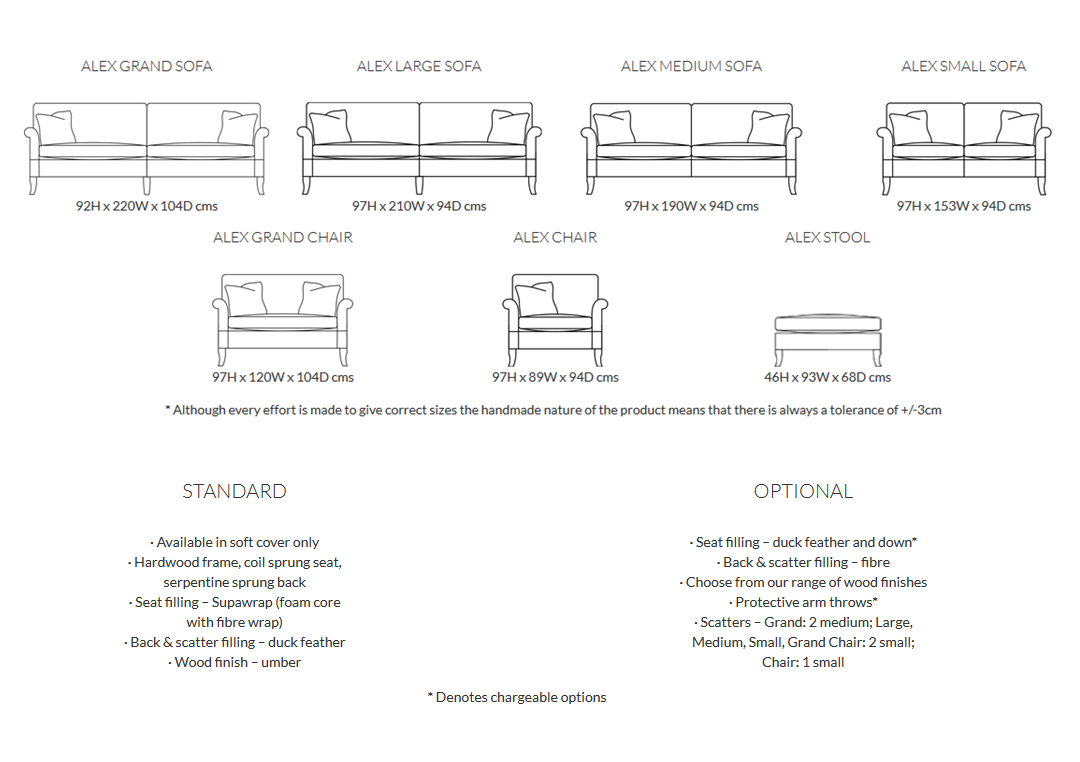 Duresta Alex Sofa Product Information and Dimensions