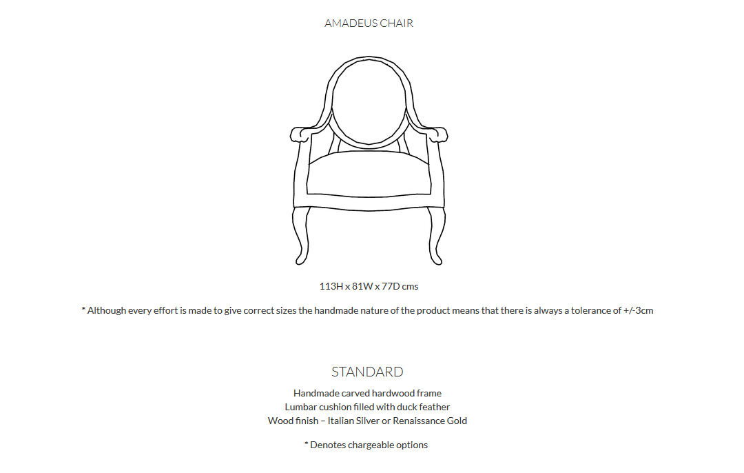 Duresta Amadeus Chairs Product Info and Dimensions