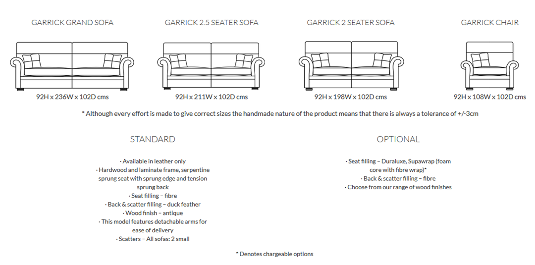 Duresta Garrick Sofa Product Information and Dimensions