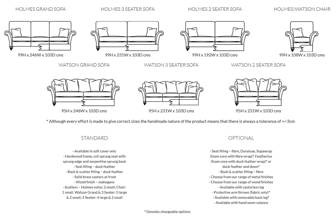 Duresta Holmes Sofa Product Information and Dimensions