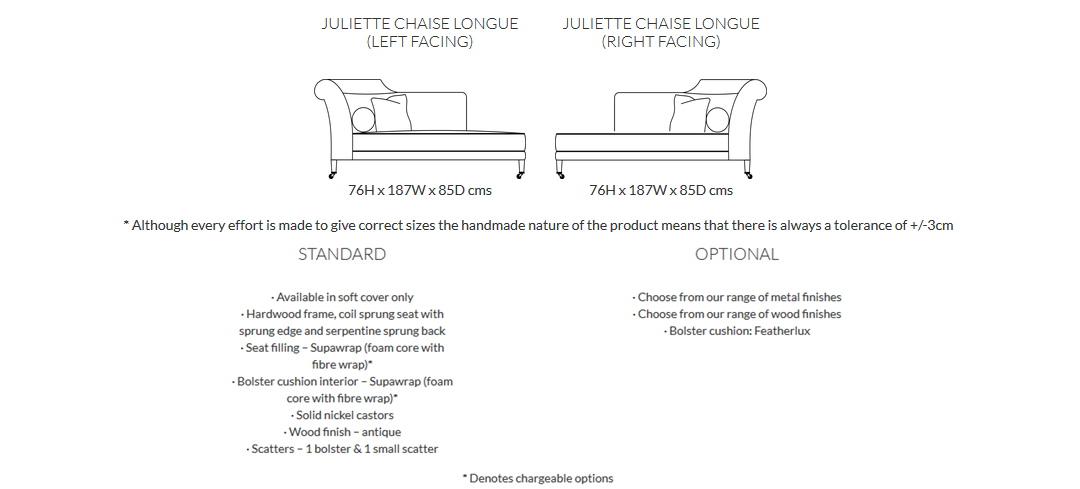 Duresta Juliet Chaise Longue Product Information and Dimensions