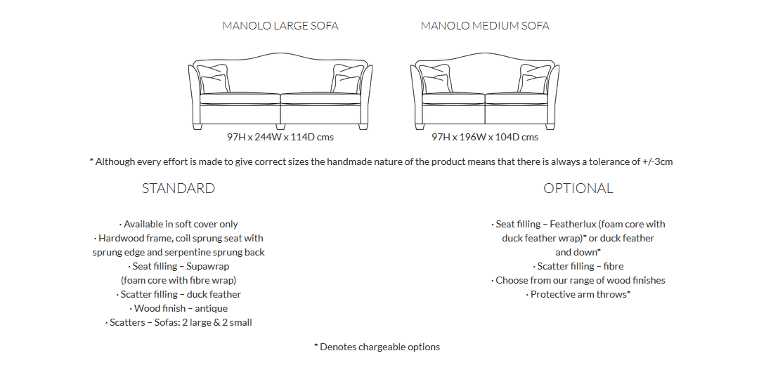 Duresta Manolo Sofa Product Information and Dimensions