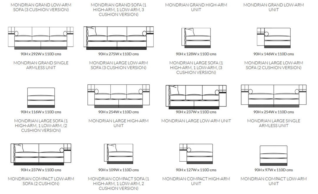 Duresta Mondrian Sofa Product Information and Dimensions 1