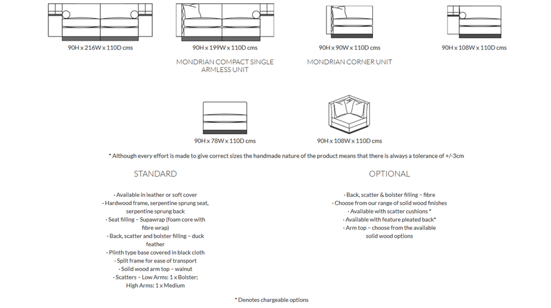 Duresta Mondrian Sofa Product Information and Dimensions 2