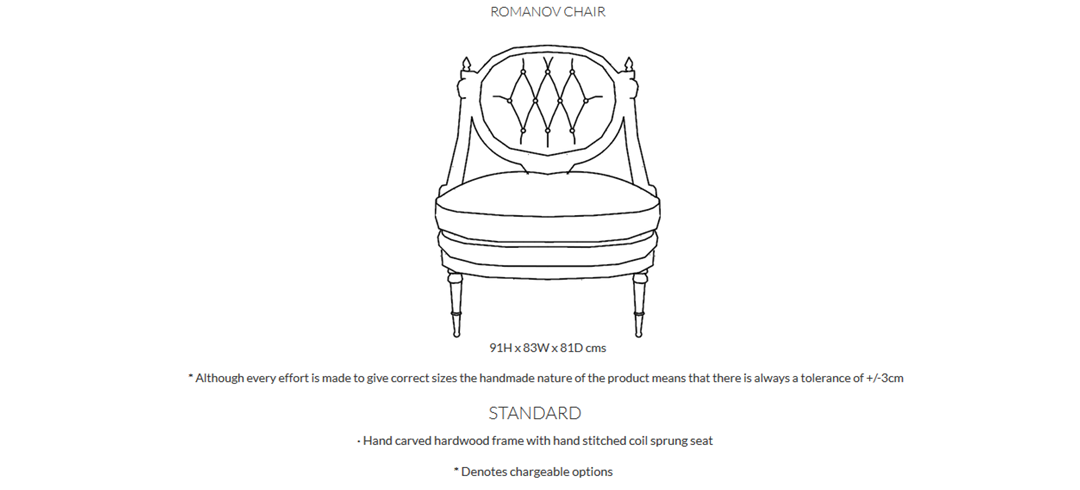 Duresta Romanov Chair Product Information and Dimensions