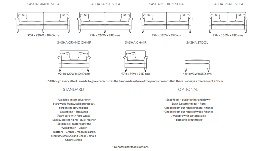 Duresta Sasha Sofa Product Information and Dimensions