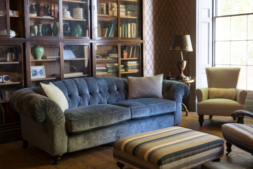 John Sankey Bloomsbury Grand Sofa in Borghese Velvet Jet Fabric