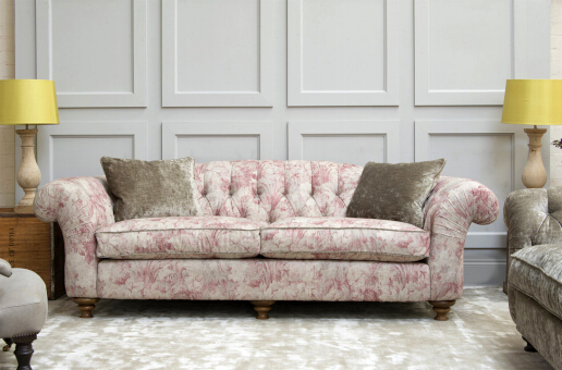 John Sankey Bloomsbury Grand Sofa in Avignon Velvet Petal Fabric Lifestyle